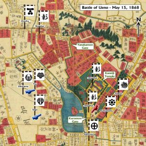 """This image shows a map of the Kaneiji Temple grounds and surrounding neighborhoods in Edo. The map is labeled """"Battle of Ueno-May 15, 1868"""". Also labeled on the map are the main temple building , Kuromon Gate (front, southern), and Yanakamon Gate (rear, northern). War banners bearing domain crests indicate troop deployments. Chōshū troops engage Shogitai troops near Yanakamon Gate. Satsuma, Kumamoto, and Tottori troops engage Shogitai troops around Kuromon Gate. Southwest of the temple, Okayama, Tsu, and Saga artillery troops are stationed with cannons. Between the artillery troops and the temple is a large pond."""