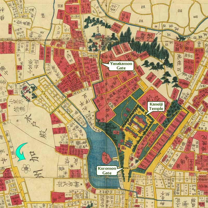 Map of Edo showing Kaneiji Temple
