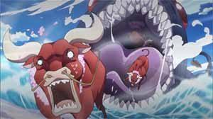Great eel eating oxen